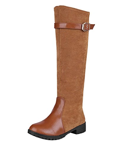 Guoar-Womens-Flats-Shoes-Big-Size-Knee-high-Zip-Decoration-Buckle-PU-Boots-for-Cacual-Party-Dress-0