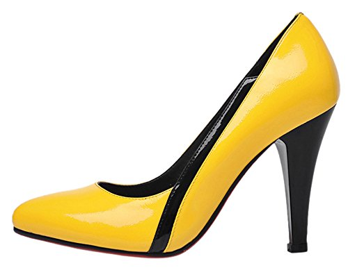 Guoar-Womens-High-Heel-Block-Big-Size-Solid-Shoes-Pointed-Toe-Patent-Pumps-for-Wedding-Party-Dress-0