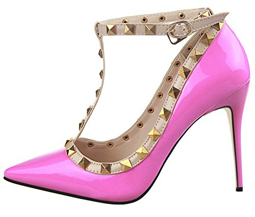 Guoar-Womens-High-Heel-Sandals-Big-Size-Shoes-Punk-Studded-Pointed-Toe-Ankle-Strap-T-strap-Cut-out-Pump-0