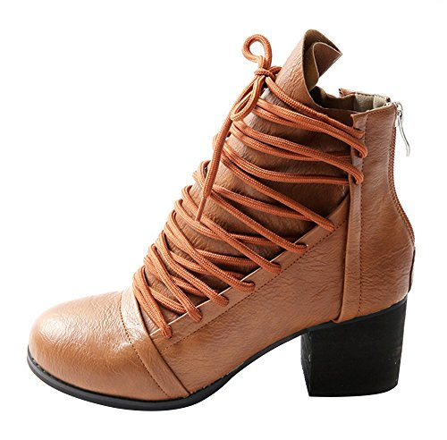 Guoar-Womens-Low-Mid-Chunky-Heel-Bootie-Big-Size-Zip-Round-Toe-Lace-Up-Ankle-Boots-0