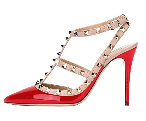 Guoar-Womens-Stiletto-Heel-Big-Size-Court-Shoes-Gladiator-Studded-Pointed-Toe-Ankle-Strap-Cut-out-Pump-0-0