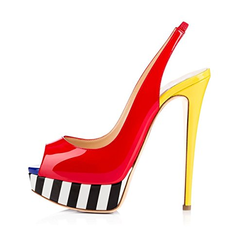 JOOGO-Womens-Fashion-Peep-Toe-Patent-Leather-Platform-Multicoloured-High-Slim-Heel-Slingback-Pumps-0