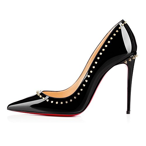JOOGO-Womens-Fashion-Pointed-Toe-Red-Sole-High-Slim-Heel-Pumps-with-Rivet-Decoration-0