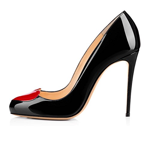 JOOGO-Womens-Fashion-Round-Toe-Red-Sole-High-Slim-Heel-Pumps-With-Heart-shaped-Decorations-0