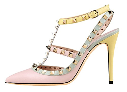 MONICOCO-Womens-Stilettos-Studded-T-Strap-Pumps-Pointed-Toe-Shoes-0