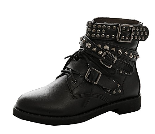 Guoar-Womens-Big-Size-Shoes-Buckle-Ankle-Rivet-Boots-Punk-Studded-Cow-Leather-Bootie-3-Straps-for-Wedding-Party-Dress-Black-US9-0