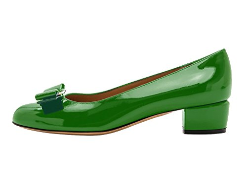 Guoar-Womens-Closed-Toe-Block-Heels-Patent-Bowknot-Pumps-Shoes-Low-Heels-For-Dress-Party-Green-US-12-0