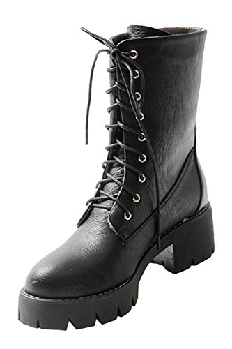 Guoar-Womens-Low-Mid-Block-Heel-Bootie-Big-Size-Round-Toe-Lace-Up-Ankle-Boots-for-Casual-Wedding-Party-Dress-Black-US11-0