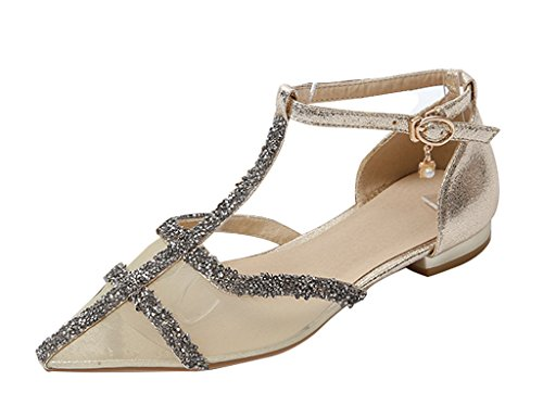 Guoar-Womens-Pointed-Toe-Mesh-Flats-Ankle-Strap-Sandals-Ladies-Glitter-Pumps-Ballet-Shoes-For-Spring-Summer-Gold-US-5-0