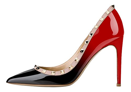 Guoar-Womens-Rivet-Shoes-High-Heel-Flats-Big-Size-Sandals-Pointed-Toe-Studded-Pumps-for-Wedding-Party-Dress-Red-and-Black-US10-0