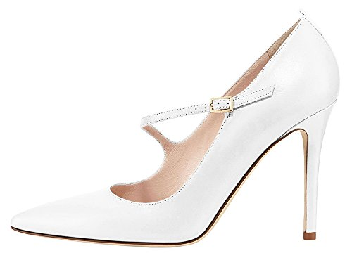 Guoar-Womens-Stiletto-Big-Size-Court-Shoes-Mary-Janes-Buckle-Pointed-Toe-PU-Pump-for-Wedding-Party-Dress-White-US11-0