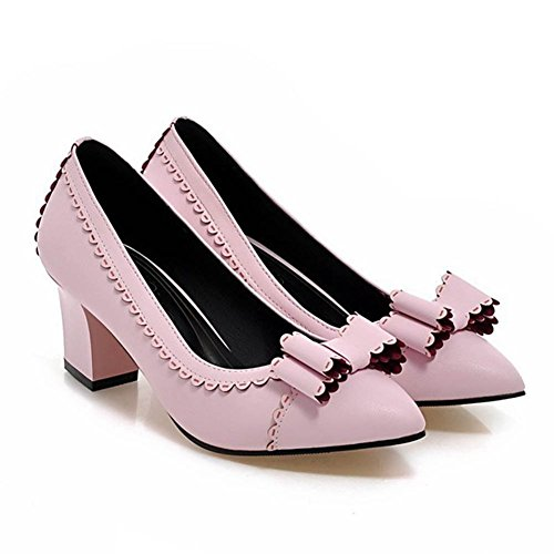 CHFSO-Womens-New-Sweet-Pointed-Toe-Slip-On-Chunky-Heel-Pumps-Shoes-With-Bows-0