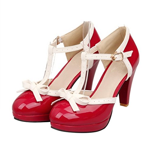Sweet-Womens-Round-Toe-High-Heel-Shoes-Bow-T-strap-Mary-Jane-Pumps-0
