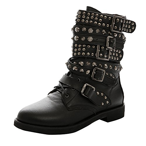 AOOAR-Womens-Studded-Strappy-Flat-Short-Boots-0