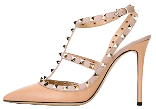 AOOAR-Womens-T-Strap-Studded-Pumps-0