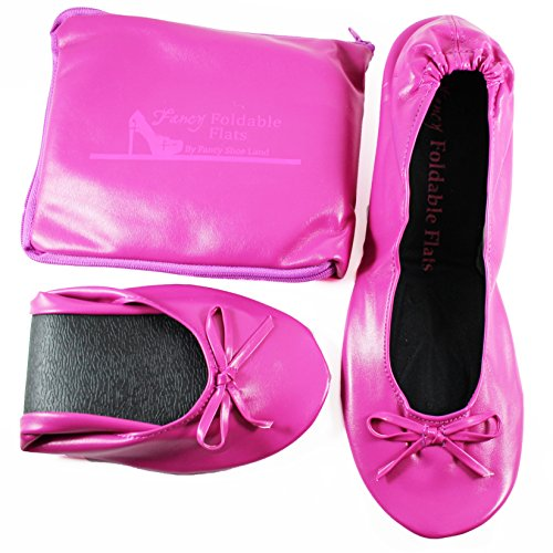 Foldable-Flats-Womens-ballerina-Flat-shoes-WITH-EXPANDABLE-TOTE-BAG-for-Carrying-High-Heels-Fold-up-ballet-shoes-Folding-Flats-PINK-portable-Travel-Shoe-0