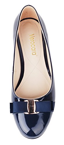 Verocara-Womens-Flat-Round-Toe-with-Bow-tie-Casual-Balleria-Genuine-Leather-Shoes-for-Party-and-Office-0-2