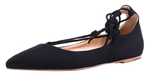 AOOAR-Womens-Adjustable-Strap-Black-Suede-Casual-Flats-8-M-US-0