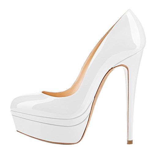 AOOAR-Womens-Double-Platform-High-Heel-White-Patent-Pumps-13-M-US-0-0