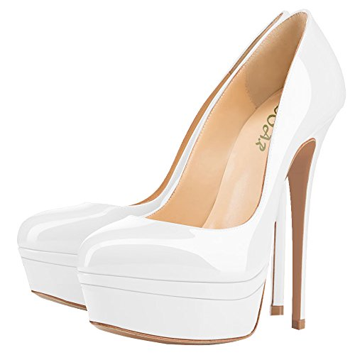 AOOAR-Womens-Double-Platform-High-Heel-White-Patent-Pumps-13-M-US-0-3