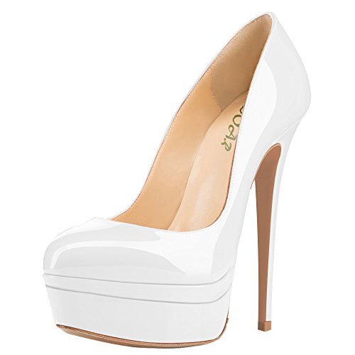 AOOAR-Womens-Double-Platform-High-Heel-White-Patent-Pumps-13-M-US-0