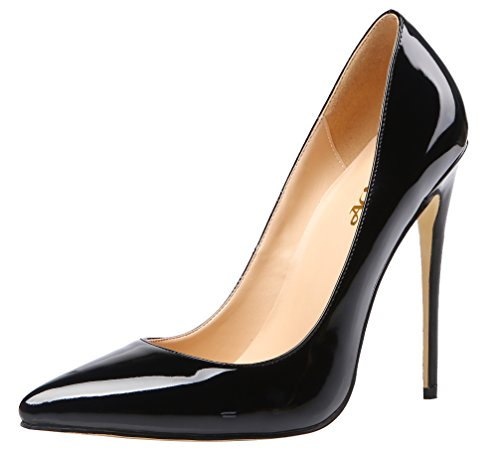 AOOAR-Womens-High-Heel-Solid-Black-Patent-Party-Pumps-12-M-US-0