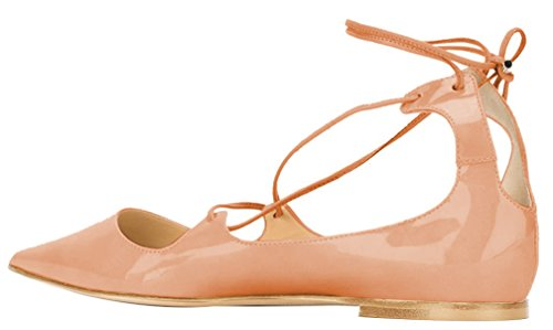 AOOAR-Womens-Lace-Up-Beige-Patent-Flats-5-M-US-0-1