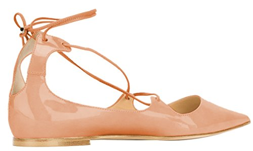 AOOAR-Womens-Lace-Up-Beige-Patent-Flats-5-M-US-0-2