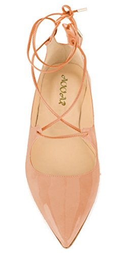 AOOAR-Womens-Lace-Up-Beige-Patent-Flats-5-M-US-0-3