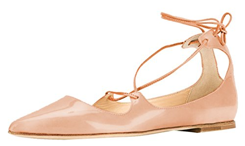 AOOAR-Womens-Lace-Up-Beige-Patent-Flats-5-M-US-0