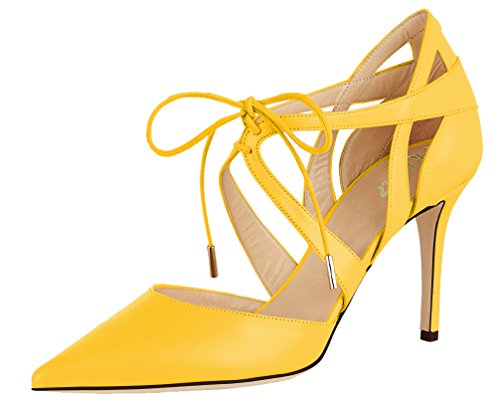 AOOAR-Womens-Lace-Up-Pointed-Toe-Yellow-PU-Dress-Pumps-12-M-US-0