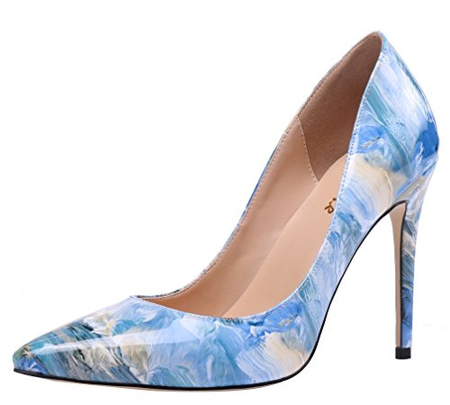 AOOAR-Womens-Multicolored-Heeled-Painted-Blue-Patent-Dress-Pumps-9-M-US-0