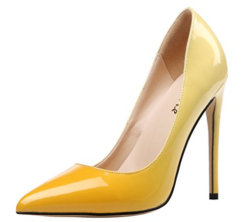 AOOAR-Womens-Plus-Size-Two-toned-Yellow-Patent-Stiletto-Pumps-8-M-US-0