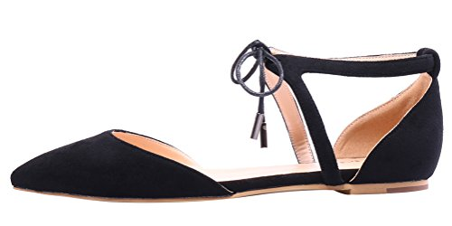 AOOAR-Womens-Solid-Lace-Up-Black-Flats-5-M-US-0-0