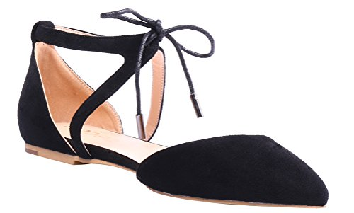 AOOAR-Womens-Solid-Lace-Up-Black-Flats-5-M-US-0-1