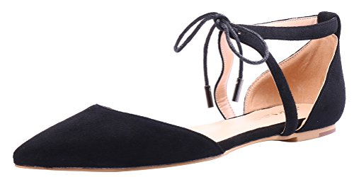 AOOAR-Womens-Solid-Lace-Up-Black-Flats-5-M-US-0