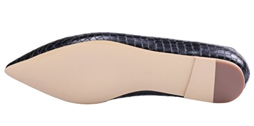 AOOAR-Womens-Solid-Pointed-Toe-Black-Stone-Pattern-Flats-8-M-US-0-5