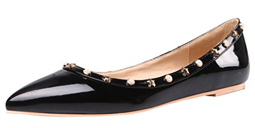 AOOAR-Womens-Studded-Black-Patent-Flats-9-M-US-0