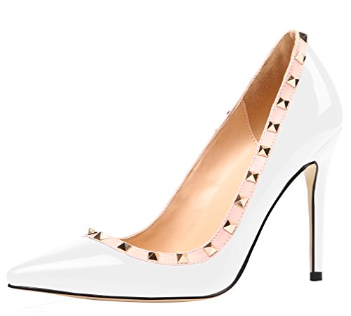 aooar women s studded high heel slip on white patent pumps. Black Bedroom Furniture Sets. Home Design Ideas