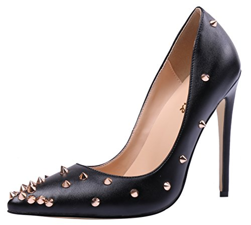 AOOAR-Womens-Studded-Stilettos-Slip-On-Black-PU-Pumps-75-M-US-0