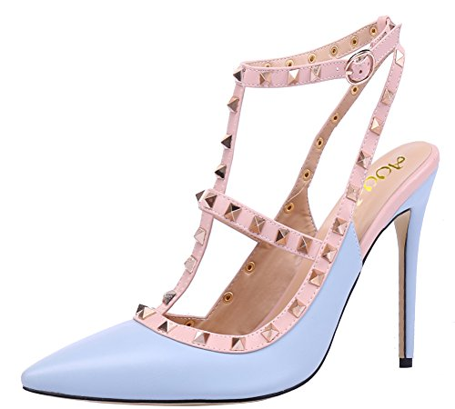 AOOAR-Womens-T-Strap-Light-Blue-PU-Pumps-10-M-US-0