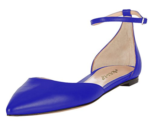 AOOAR-Womens-Two-Piece-Ankle-Strap-Blue-PU-Flats-12-M-US-0