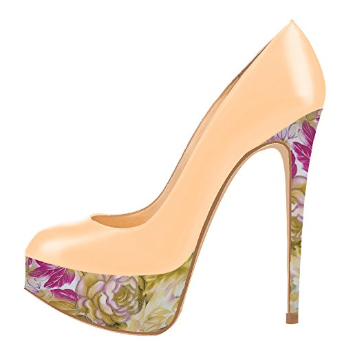 AOOAR-Womens-Two-toned-Platform-Spike-Stilettos-Beige-PUFloral-Pattern-Pumps-7-M-US-0