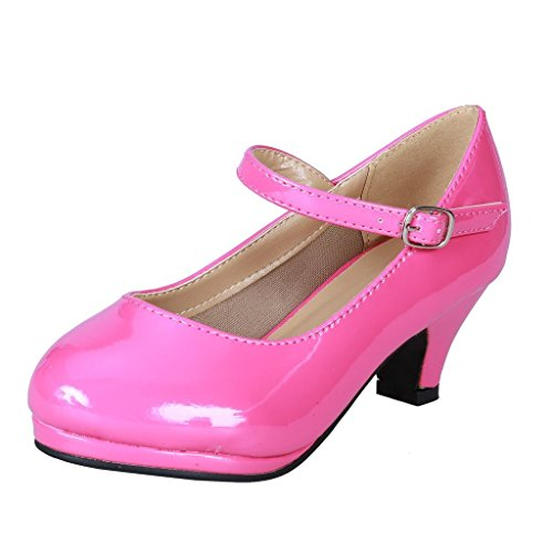 Coshare-Kids-Fashion-Little-Girl-Pretty-Party-Dress-Pumps-Size-4-Fuchsia-Patent-0
