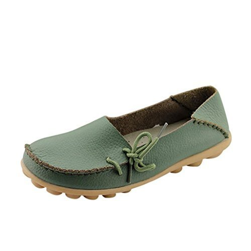 FAYALE-Women-Leather-Lace-Up-Loafer-Hand-made-Flats-Pumps-7-BM-US-Army-Green-0