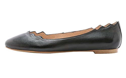 Guoar-Womens-Ballet-Flats-Big-Size-PU-Sandals-Ladies-Shoes-Solid-Round-Toe-Scalloped-Edge-Pumps-Shoes-Black-US-10-0