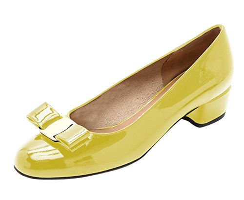 Guoar-Womens-Closed-Toe-Block-Heels-Patent-Bowknot-Pumps-Shoes-Low-Heels-For-Dress-Party-Yellow-US-11-0-0