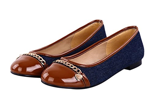 Guoar-Womens-Flats-Big-Size-Court-Shoes-Round-Toe-Denim-Pumps-for-Dresses-Brown-US-65-0-0