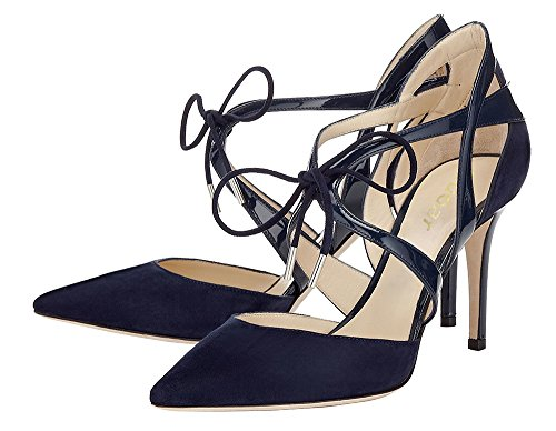 Guoar-Womens-High-Heel-Sandals-Big-Size-Solid-Shoes-Pointed-Toe-Dress-Lace-up-Pumps-for-Wedding-Party-Navy-US11-0-3