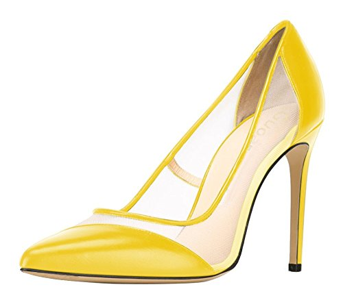 Guoar-Womens-Mesh-Stiletto-Heel-Big-Size-Shoes-Pointed-Toe-Ladies-Pumps-for-Work-Place-Dress-Yellow-US-8-0-0